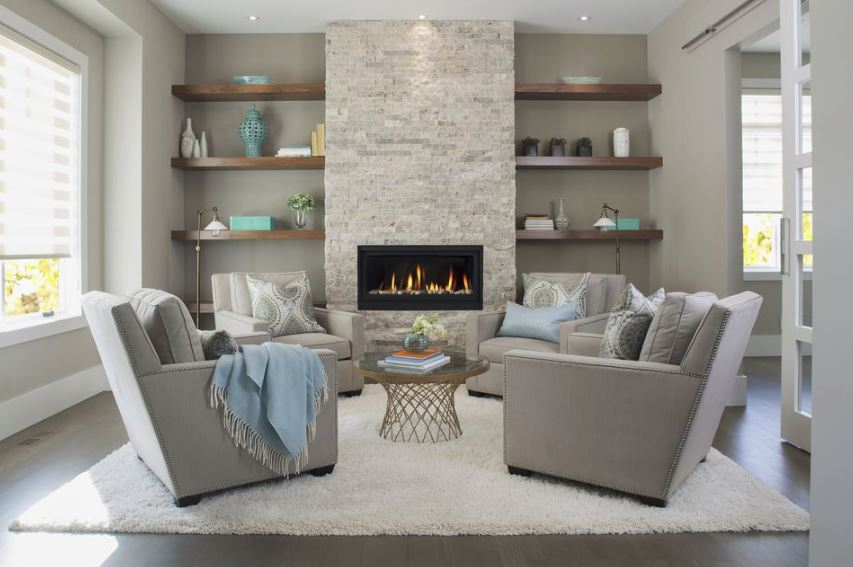 A typcial fireplace focal point