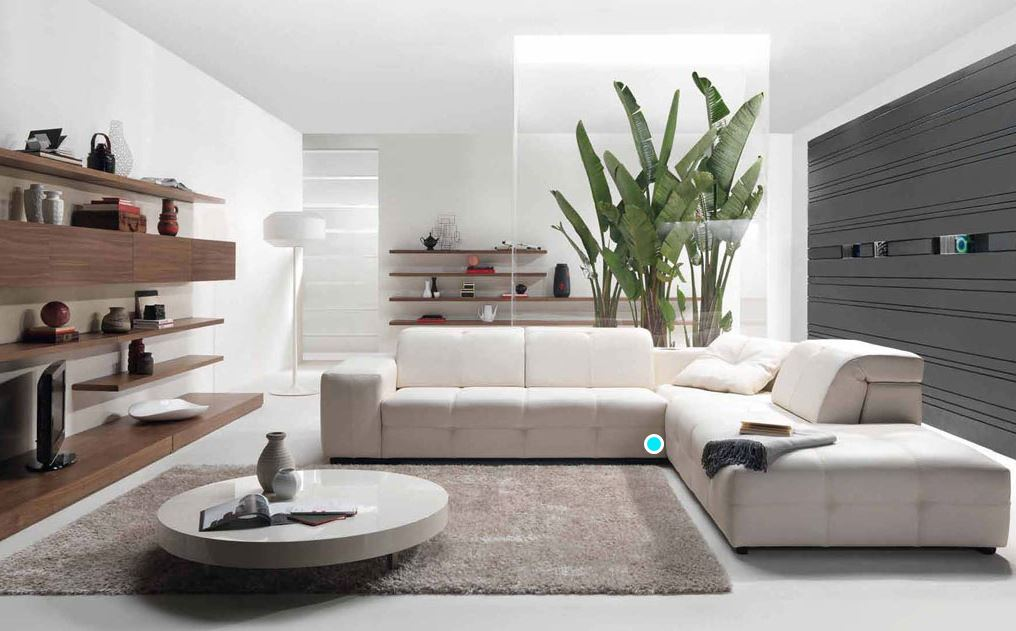 A modern bright straight lined minimalist living room